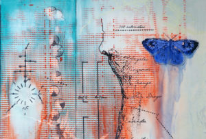 artwork entitled Coastal Sage with Map and Blue, water color and mixed media