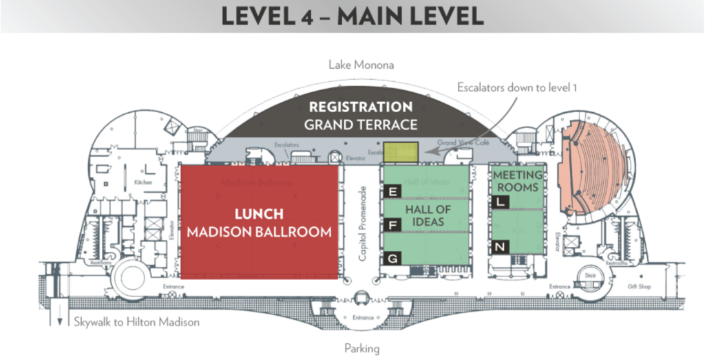 Map of level 4, the main level of the Frank Lloyd Wright Convention Center