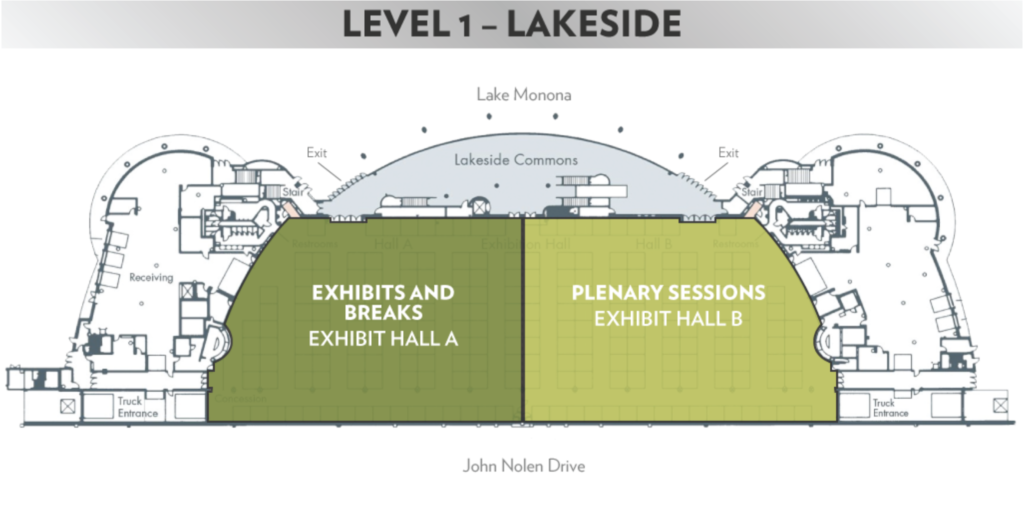 map of level 1 of the Frank Lloyd Wright Convention Center, on the lake side